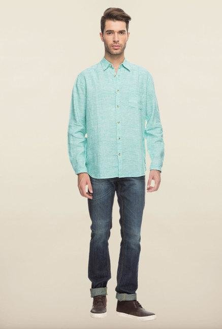 Cottonworld Green Solid Linen Casual Shirt