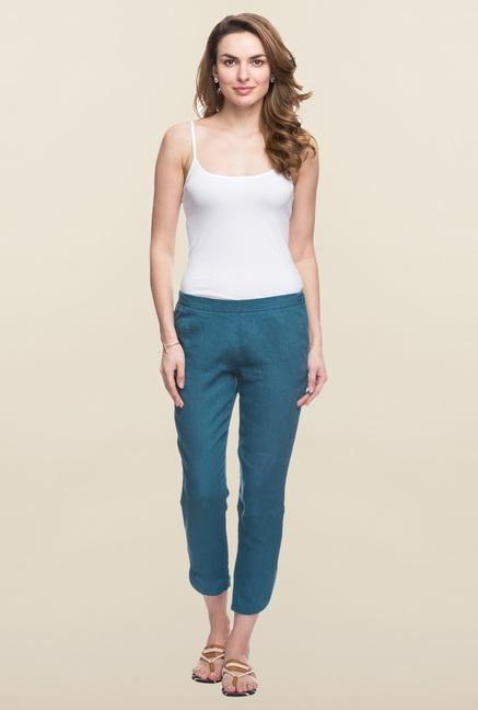 Cottonworld Turquoise Solid Linen Pant