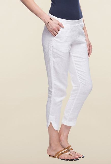 Cottonworld White Solid Pant