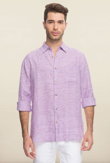 Cottonworld Purple Solid Linen Casual Shirt