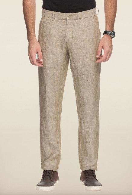 Cottonworld Beige Solid Linen Trouser
