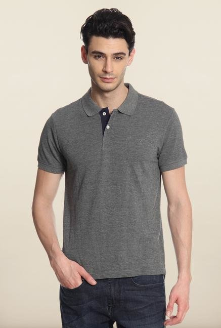 Cottonworld Grey Solid Polo T-Shirt