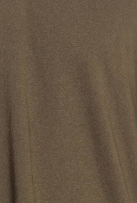 Cottonworld Brown Solid Henley T-Shirt