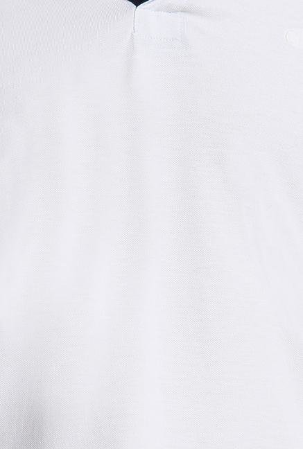 Cottonworld White Solid Polo T-Shirt