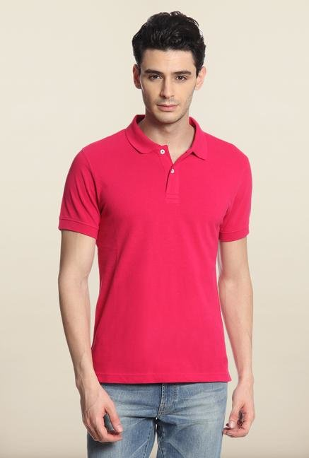 Cottonworld Pink Solid Polo T-Shirt