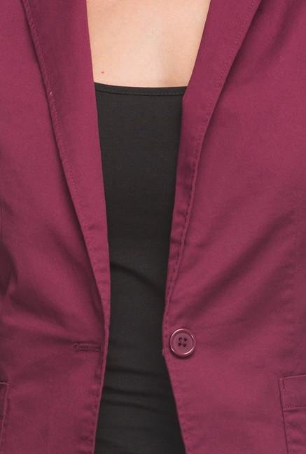 Cottonworld Maroon Solid Blazer