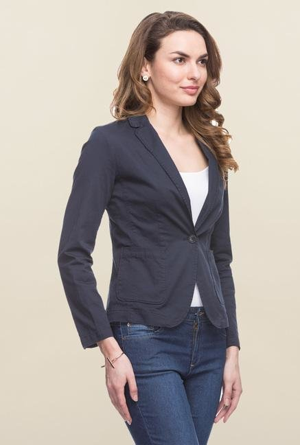 Cottonworld Navy Solid Blazer