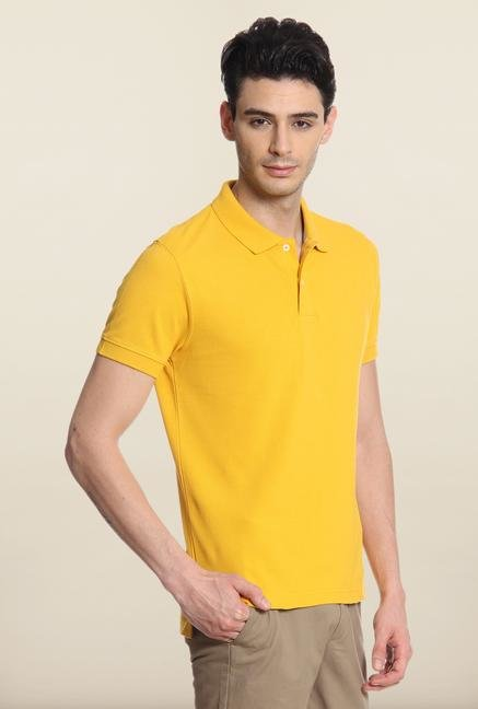 Cottonworld Mustard Solid Polo T-Shirt