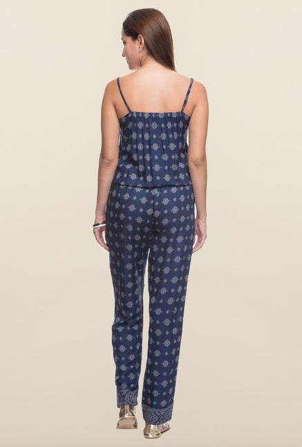 Cottonworld Navy Printed Jumpsuit