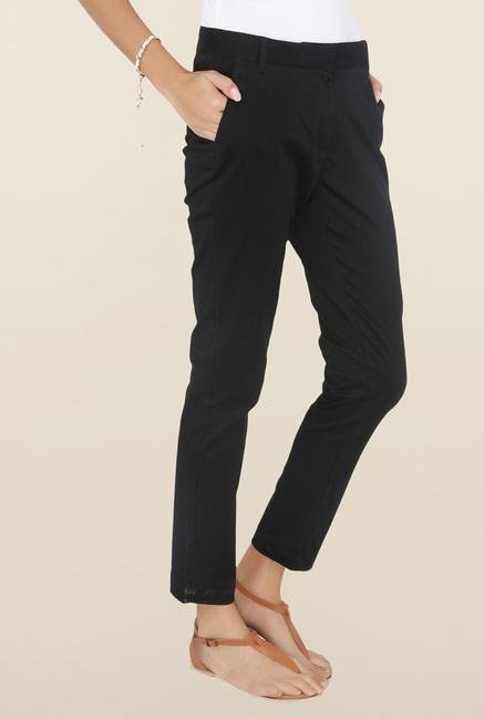 Cottonworld Black Solid Pant
