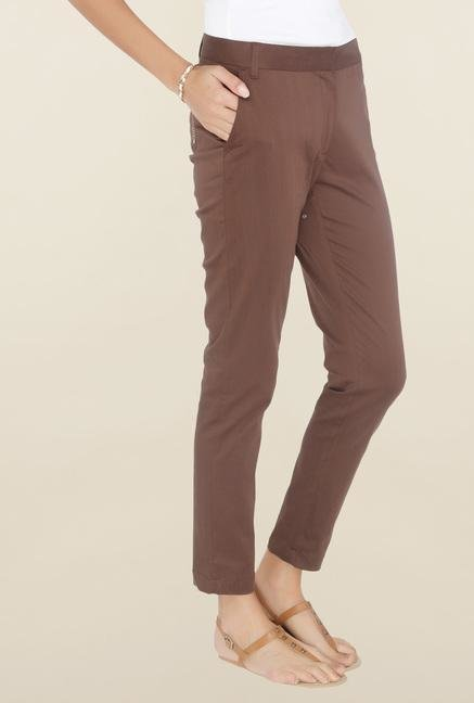 Cottonworld Coffee Solid Cotton Pant