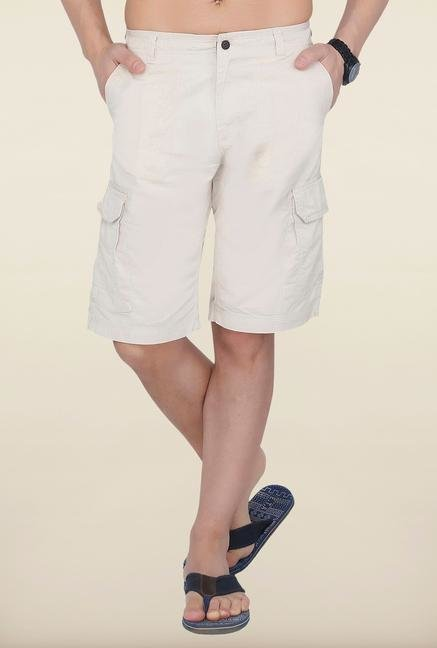 Cottonworld Cream Solid Cotton Shorts