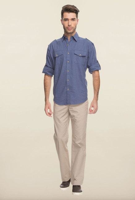 Cottonworld Cadet Blue Solid Linen Casual Shirt