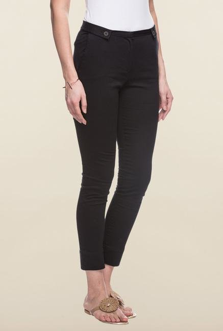 Cottonworld Black Solid Cotton Pant