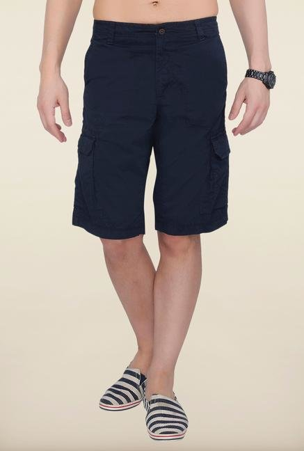 Cottonworld Navy Solid Cotton Shorts