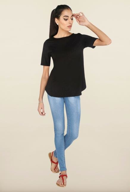Cottonworld Black Solid Casual Top