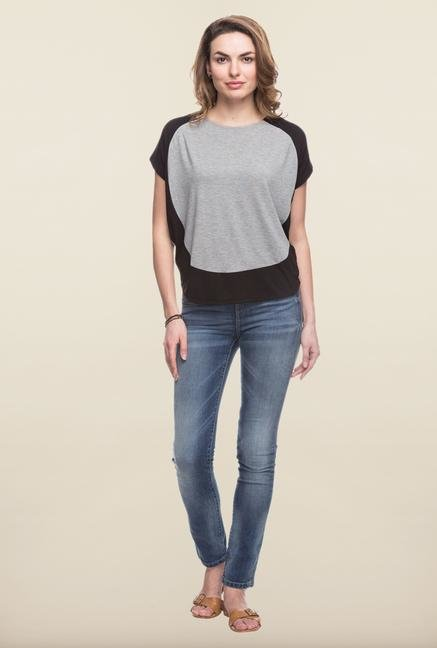 Cottonworld Grey Solid Casual Top