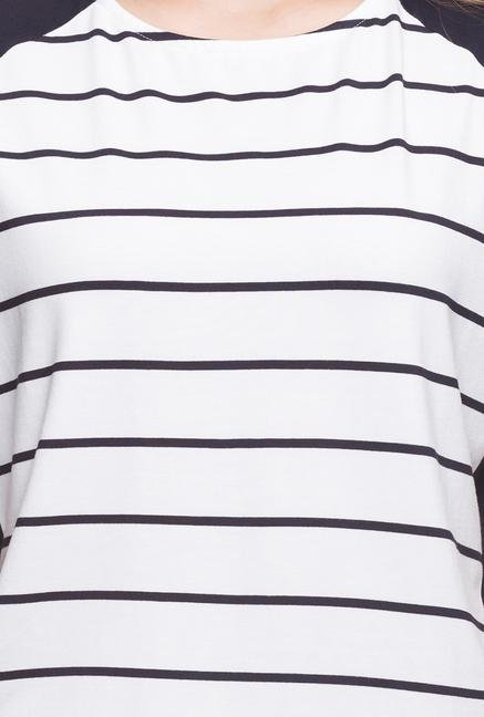 Cottonworld White & Navy Casual Top