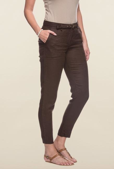Cottonworld Brown Solid Linen Pant