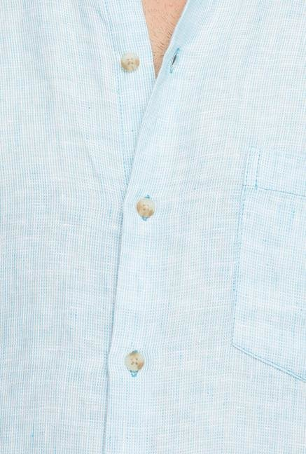 Cottonworld Sky Blue Solid Casual Shirt