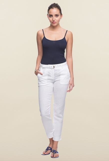 Cottonworld White Solid Linen Pant