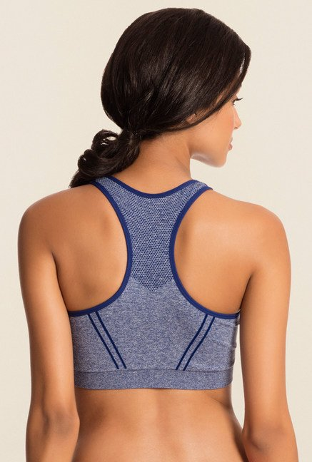 Pretty Secrets Blue Solid Non-Wired Sports Bra