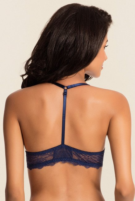 Pretty Secrets Navy Lace Front Open Bra