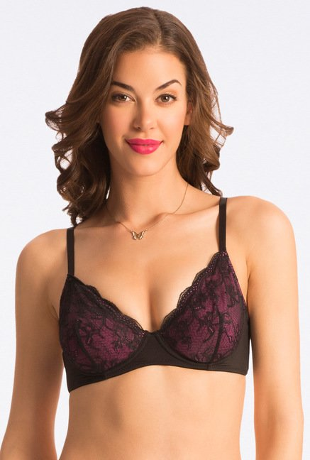 Pretty Secrets Purple Lace Plunge Bra