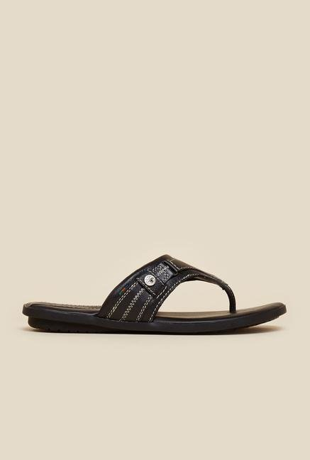 Buckaroo Paxton Black Leather Thong Sandals