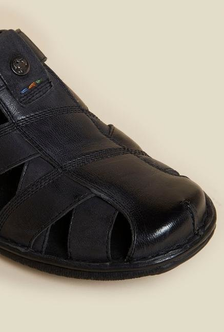 Buckaroo Blaze Black Leather Sandals