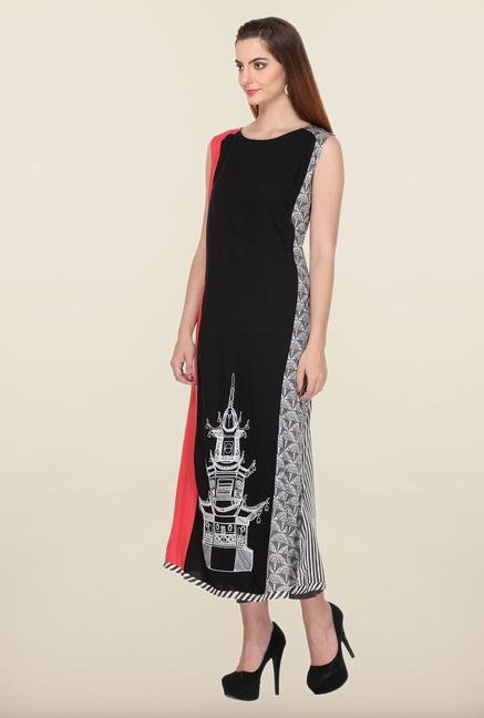 W Black Printed Ethnic Kurta