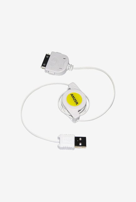 Amzer USB Retractable Sync Data Cable for iPod Nano White
