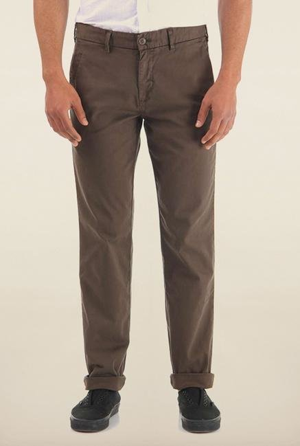 Shapes Olive Solid Slim Fit Cotton Chinos