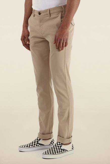 Shapes Beige Solid Chinos