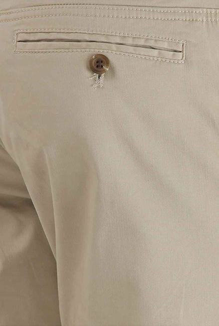 Shapes Beige Solid Slim Fit Chinos