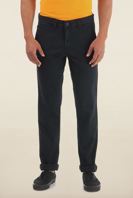 Shapes Navy Solid Slim Fit Chinos