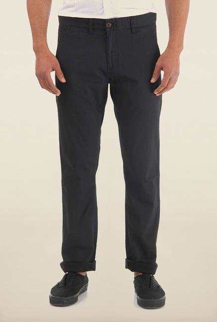 Shapes Black Solid Chinos