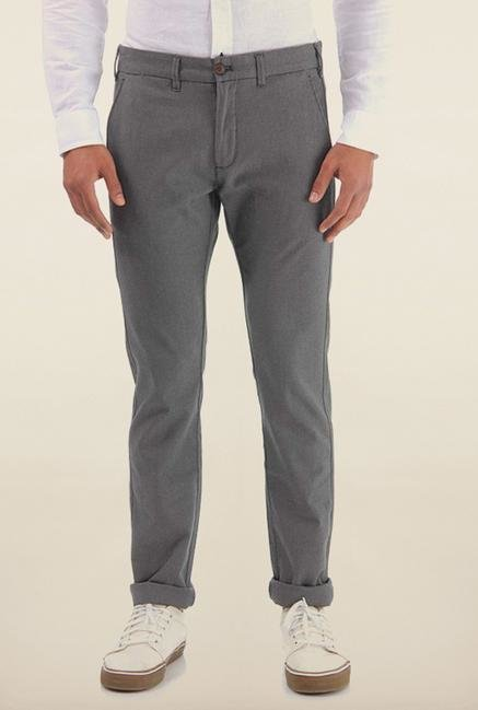 Shapes Grey Solid Slim Fit Chinos