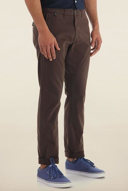 Shapes Coffee Solid Slim Fit Cotton Chinos