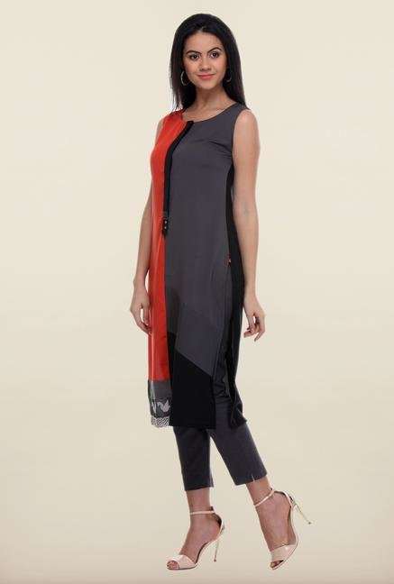 W Grey & Red Solid Kurta
