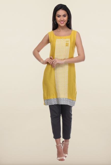 W Yellow Printed Cotton Kurti