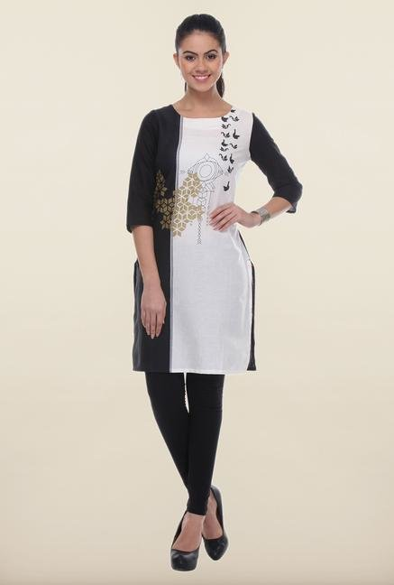 W Black & White Printed Cotton Kurti