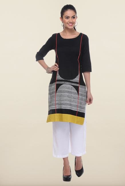 W Black Printed Cotton Kurti