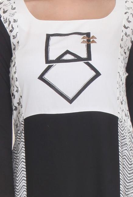 W Black & White Regular Fit Kurta