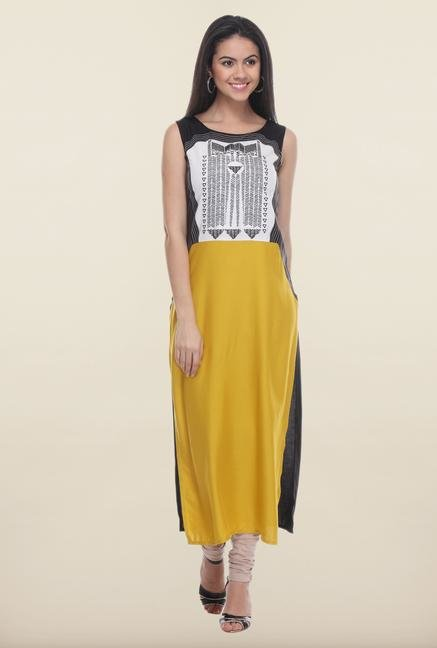 W Black & Yellow Printed Kurta