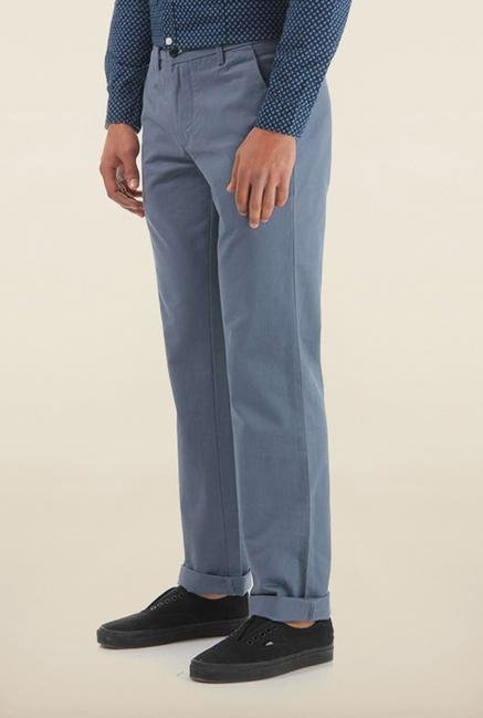 Shapes Blue Solid Slim Fit Cotton Chinos