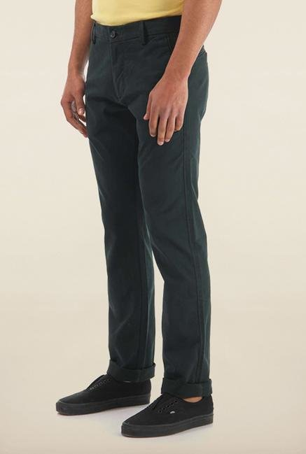 Shapes Dark Green Solid Slim Fit Chinos