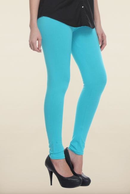 W Sky Blue Solid Leggings