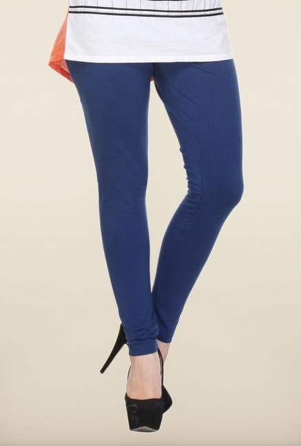 W Dark Blue Solid Leggings