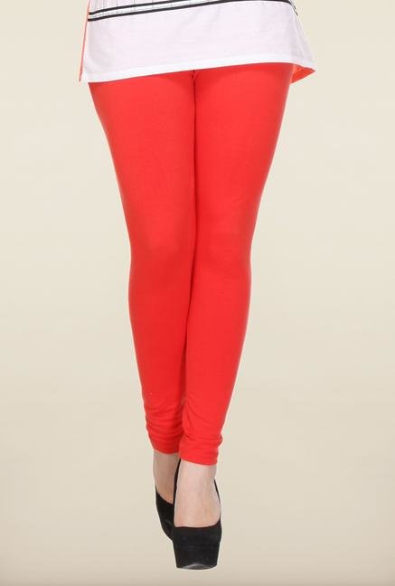 W Red Solid Leggings